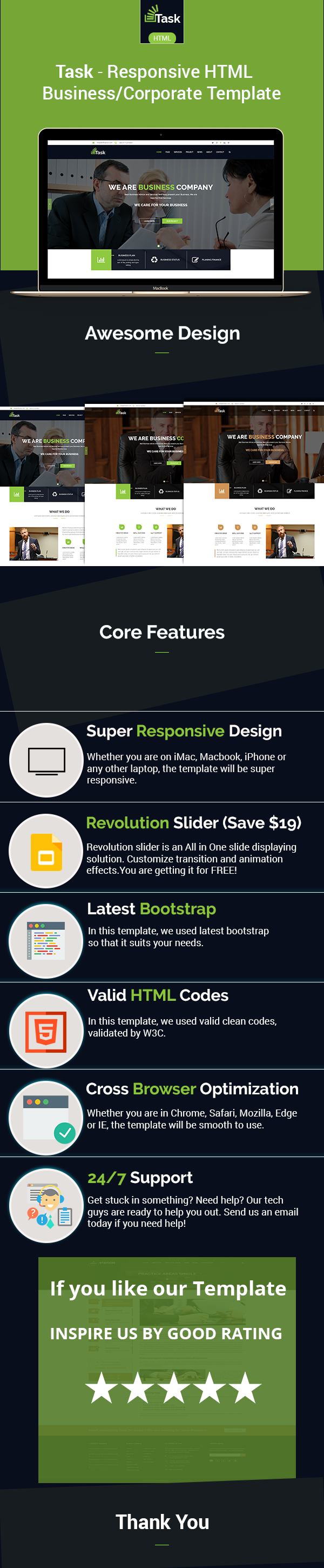 Task - Responsive Business/Corporate HTML Template
